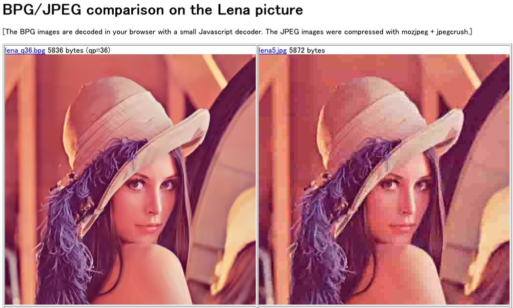 BPG/JPEG comparison on the Lena picture